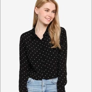 Forever 21 polka dot cropped button down top
